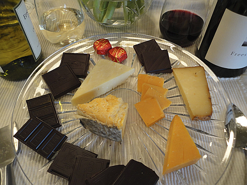 Valentine cheese and chocolates