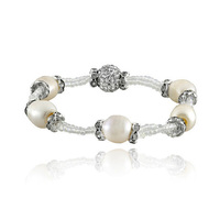 Bling in style with this eye-catching freshwater pearl and crystal bracelet!