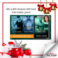 Kathy Lyons is celebrating the holidays AND HITTING IT winning the Readers & 'ritas Award with a Gift Card!
