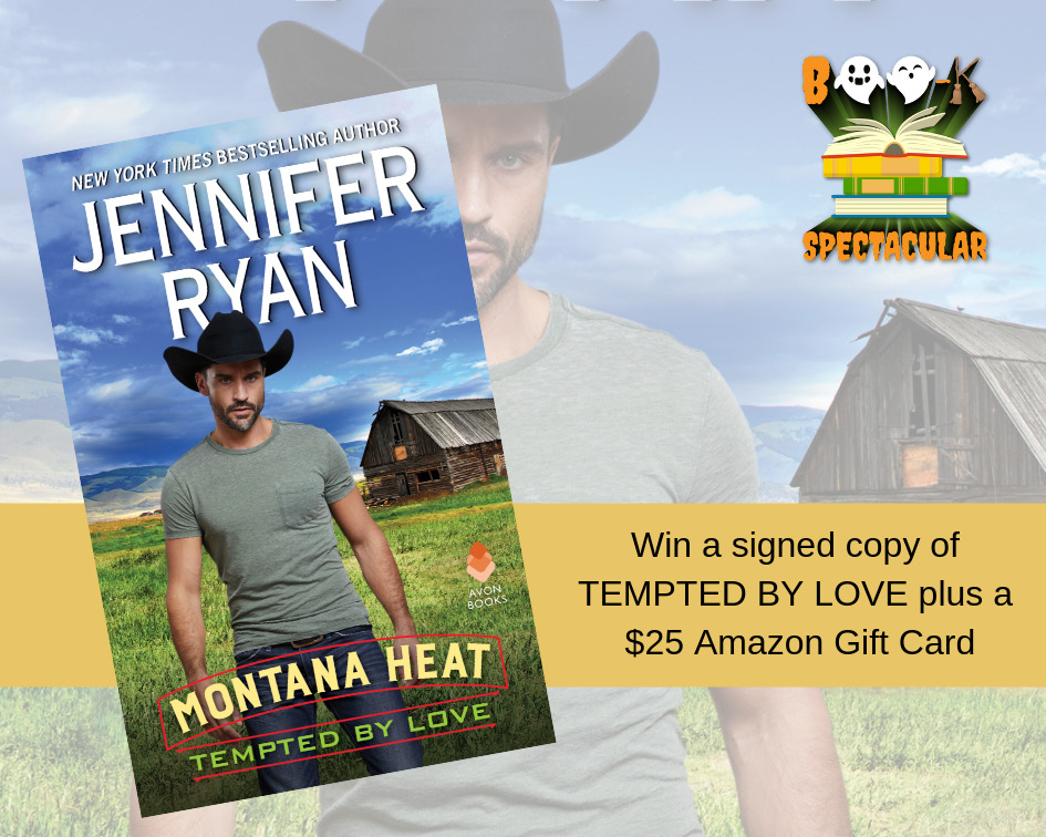 Jennifer Ryan says you'll be TEMPTED BY LOVE in this Boo-K Spectacular! A cowboy, a signed book & a gift card!
