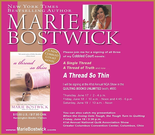 Visit with Marie Bostwick at NQA June 17-18 Columbus, Ohio