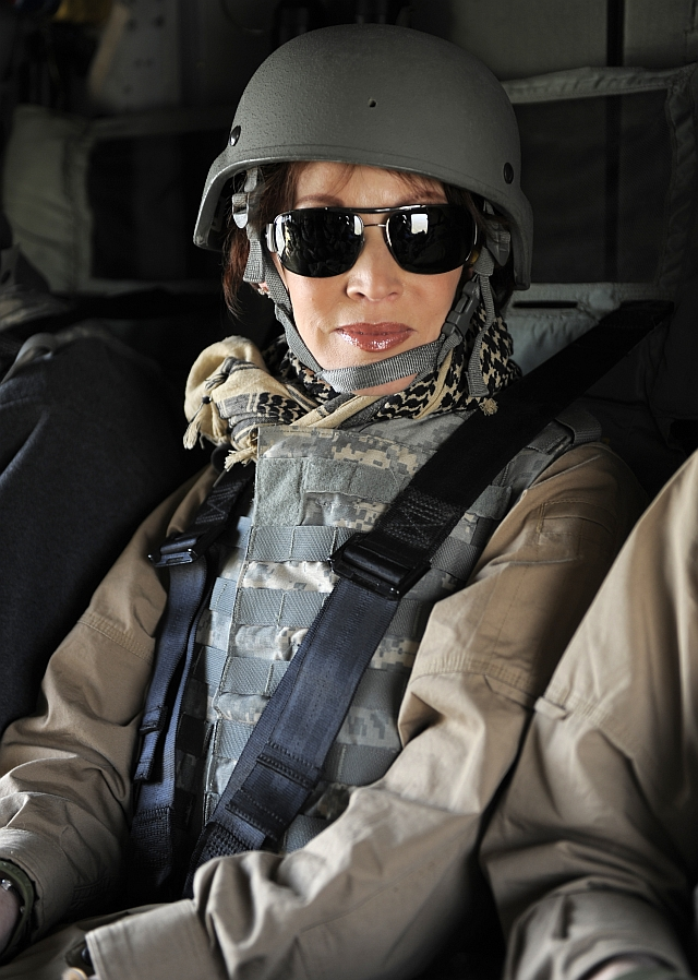 Sandra Brown on USO tour in helicopter